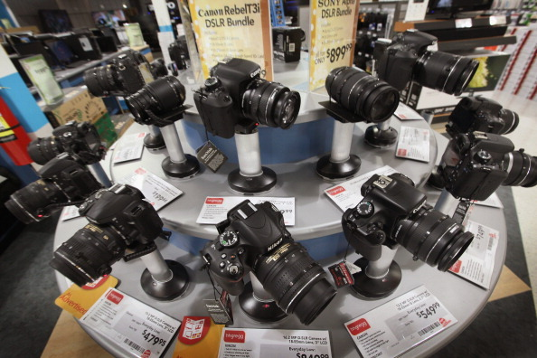 NILES, IL - NOVEMBER 15: Cameras are offered for sale at an appliance and electronics store on November 15, 2011 in Niles, Illinois. Retail sales rose in October, helped along by a 3.7 percent increase in sales at electronics and appliances stores.  (Photo by Scott Olson/Getty Images)